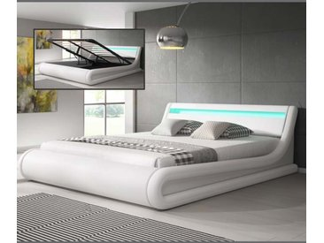 Lit coffre design Parisina – blanc (150x190cm)