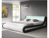 Lit coffre design Parisina – blanc avec noir (160x200cm)