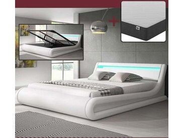 Lit coffre design Parisina – blanc (150x190cm) avec matelas Texas