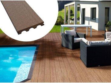 Pack 10 m² - Lames de terrasse composite pleines - Marron