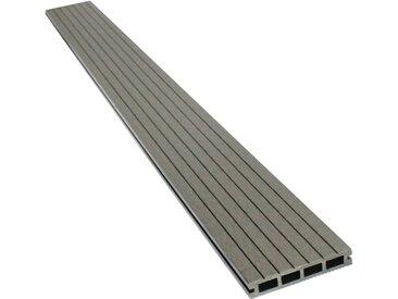 Lot de 3 lames de terrasse composite alvéolaires - Long: 2,4m - surface 1m² - Gris