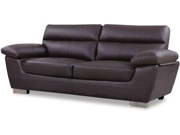 Canapé fixe en cuir reconstitué et PVC Dallas - 210 x 88 x 90 cm - 3 places - Chocolat