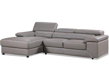 Canapé d'angle en cuir reconstitué et PVC London - 4 places - Gris - Angle gauche