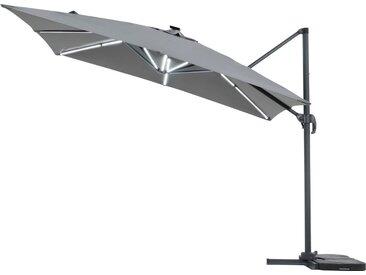 Parasol jardin déporté LED Alu Sun 4 Luxe - Rectangle - 3 x 4 m - Gris