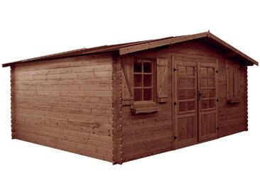 Abri jardin bois traité autoclave - 22.34 m² - 5.28 x 4.23 x 2.34 m - 28 mm