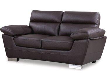 Canapé fixe en cuir reconstitué et PVC Dallas - 169 x 88 x 90 cm - 2 places - Chocolat
