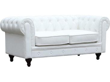 Canapé fixe Chesterfield Aliza - 157 x 82 x 70 cm - 2 places - Blanc