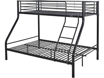 Lits superposés en métal - Noir - Sommiers inclus - 90/140 x 190 cm - LEO