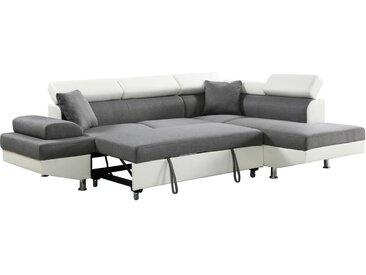 Canapé d'angle convertible Sophia luxe - 265 x 190.5 x 80/91 cm - Blanc / Gris - 5 places - Angle droit