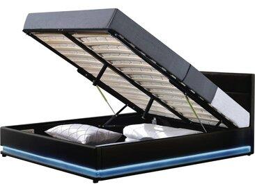 Lit LED avec coffre Anastasia - 160 x 200 cm - Noir