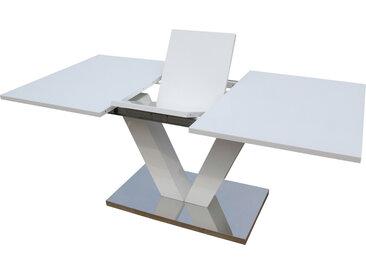 Table repas extensible Lora - Dimensions : 140/180 x 90 x 75 cm - Blanc laqué