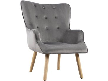 Fauteuil style scandinave velours Odense - 73 x 81 x 92.5 cm - 1 place - Gris