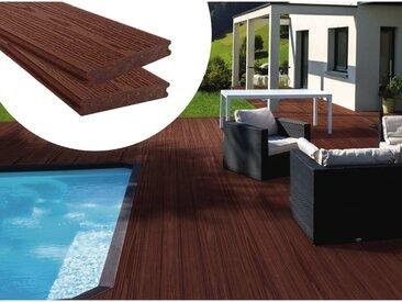 Pack 15 m² - Lames de terrasse composite co-extrudées - Marron