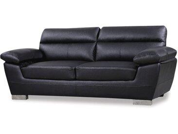 Canapé fixe en cuir reconstitué et PVC Dallas - 210 X 88 X 90 cm - 3 places - Noir