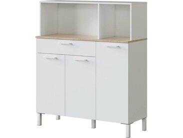Buffet de cuisine Kira - 3 portes + 1 tiroir - 126 x 108 x 40 cm - Blanc
