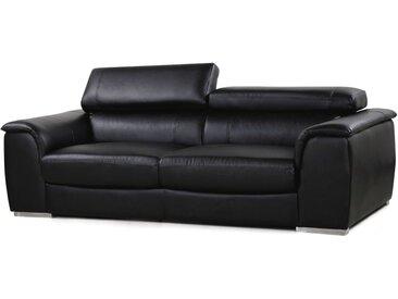 Canapé fixe en cuir reconstitué et PVC Bari - 210 x 96 x 72 cm - 3 places - Noir