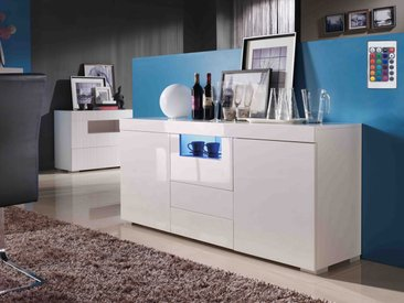 Buffet LED Flora - 166.6 x 42.1 x 74 cm - 2 portes - 3 tiroirs - Blanc laqué