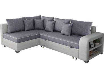 Canapé d'angle convertible Gregory - 268 x 99/178 x 85 cm - 4 Places - Gris/Blanc - Angle gauche