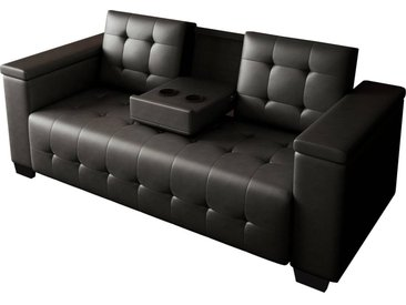 Canapé clic-clac convertible Renarde -  214 x 86 x 86 cm - 3 Places - Noir + Rangements