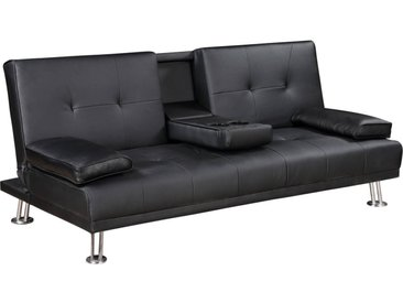 Canapé clic-clac Leo - 188 x 89 x 81 cm - 3 places - Noir