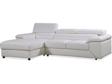 Canapé d'angle en cuir reconstitué et PVC London - 4 places - Blanc - Angle gauche