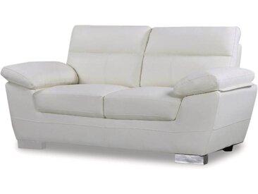 Canapé fixe en cuir reconstitué et PVC Dallas - 169 x 88 x 90 cm - 2 places - Blanc