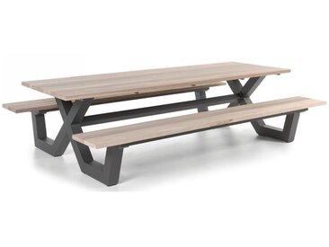 Table pique-nique avec bancs en teck massif et pieds en aluminium gris foncé, Carelli