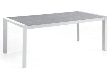 Table de jardin 202 x 100 cm avec plateau en Duranite® et piètement en alu blanc