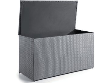 Coffre de rangement 160 cm aluminium et résine tressée gris foncé, Mila