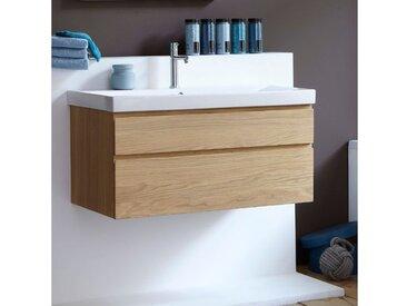 Meuble SDB suspendu en chêne massif, plan vasque en céramique blanche, Line Art