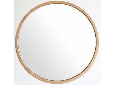 Miroir rond en chêne massif, diamètre 50 à 120 cm