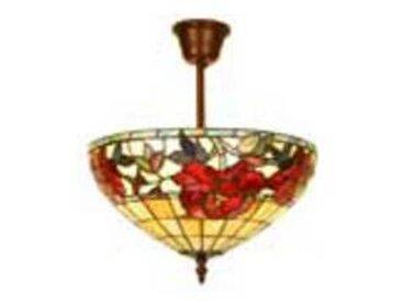 artistar Rose Rouge plafonnier en verre style Tiffany 3 lumières