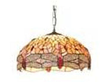 Artistar Libellule suspension grand modèle style Tiffany à cabochons multicolores 1 lumière