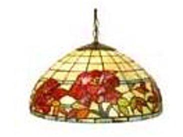 Artistar Rose Rouge suspension en verre style Tiffany 1 lumière