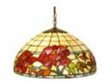 artistar Rose Rouge suspension en verre style Tiffany 2 lumières
