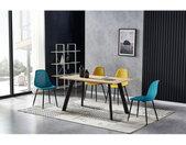 CHLOE-Chaise scandinave bleu canard pieds métal noir (x4)