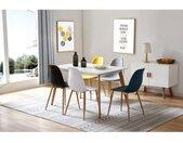 ESTER-Chaises scandinaves blanc pieds métal bois (X2)
