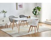 MERIDA-Chaise scandinave blanc pieds hêtre (x4)