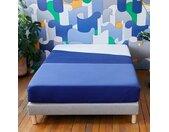 Drap plat satin coton bleu Tediber - 4 coloris et 2 tailles - Livraison express et retours gratuits