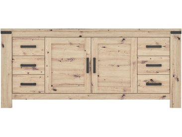 Buffet 2 portes+6 tiroirs HAWAI Imitation chêne naturel