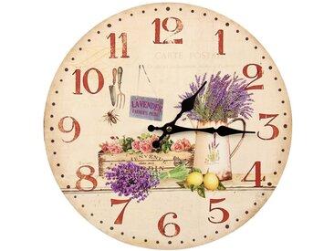 Horloge Ancienne Murale Lavande Rose 34cm - Bois - Blanc - Décoration d'Autrefois
