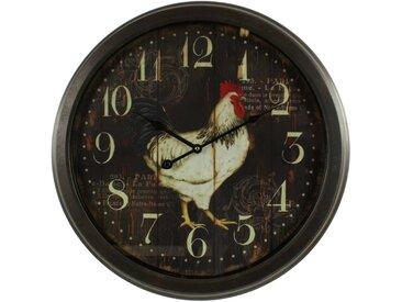 Horloge Ancienne Murale Coq 58cm - Fer - Noir - Décoration d'Autrefois