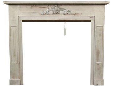 Décoration d'Autrefois - Encadrement Manteau Cheminée Cerusé Blanc 120x22.5x98.5cm - Bois