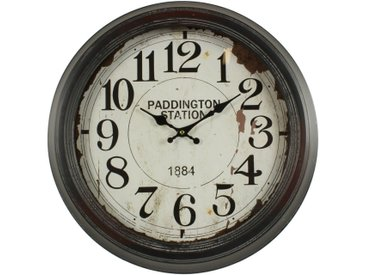 Horloge Ancienne Murale Paddington Station 47cm - Fer - Blanc - Décoration d'Autrefois