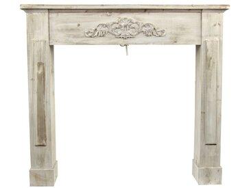 Décoration d'Autrefois - Encadrement Manteau Cheminée Cerusé Blanc 109.5x23x98cm - Bois