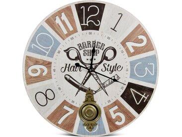 Horloge Ancienne Balancier Barber Shop Hair Style Bois Blanc 58cm - Décoration d'Autrefois