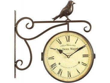 Horloge De Gare Ancienne Double Face Les Deux Magots 24cm - Fer Forgé - Blanc - Décoration d'Autrefois