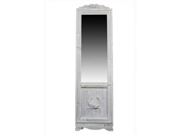 Miroir Ancien Rectangulaire Vertical Sur Pied Bois Blanc Cerusé 177x6.5x51cm - Décoration d'Autrefois