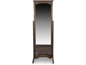 Miroir Ancien Rectangulaire Vertical Sur Pied Bois 50x45x146.5cm - Marron - Décoration d'Autrefois