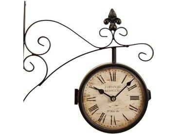 Horloge De Gare Ancienne Double Face Jardin de Monceau 16cm - Fer Forgé - Blanc - Décoration d'Autrefois